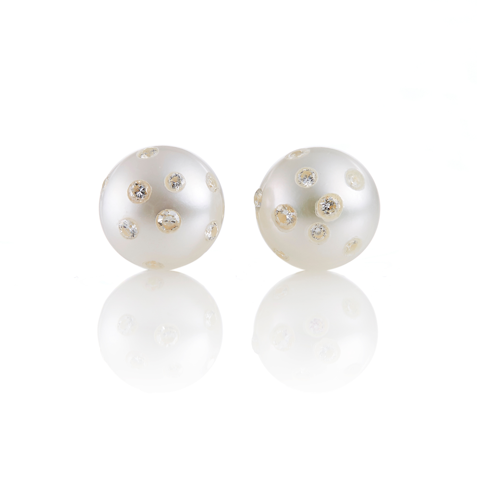 Russell Trusso Freshwater Cultured Pearl & Diamond Earrings