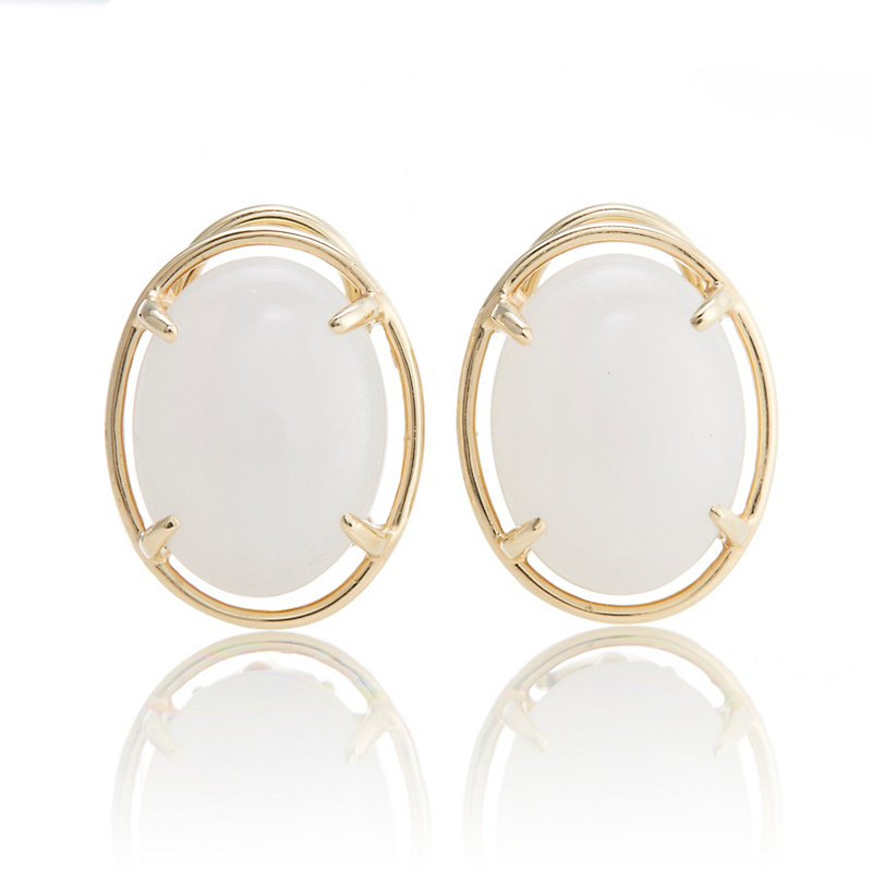 White Jadeite Cabochon Earrings