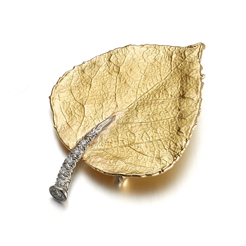 Aaron Henry Aspen Leaf Gold & Platinum Diamond Brooch