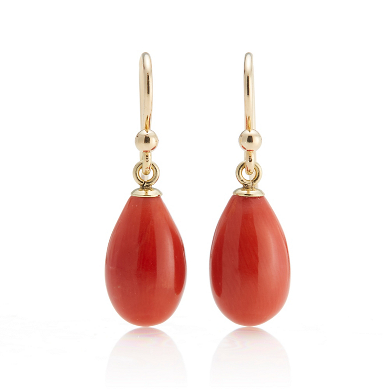 Gump's Red Coral Drop Earrings