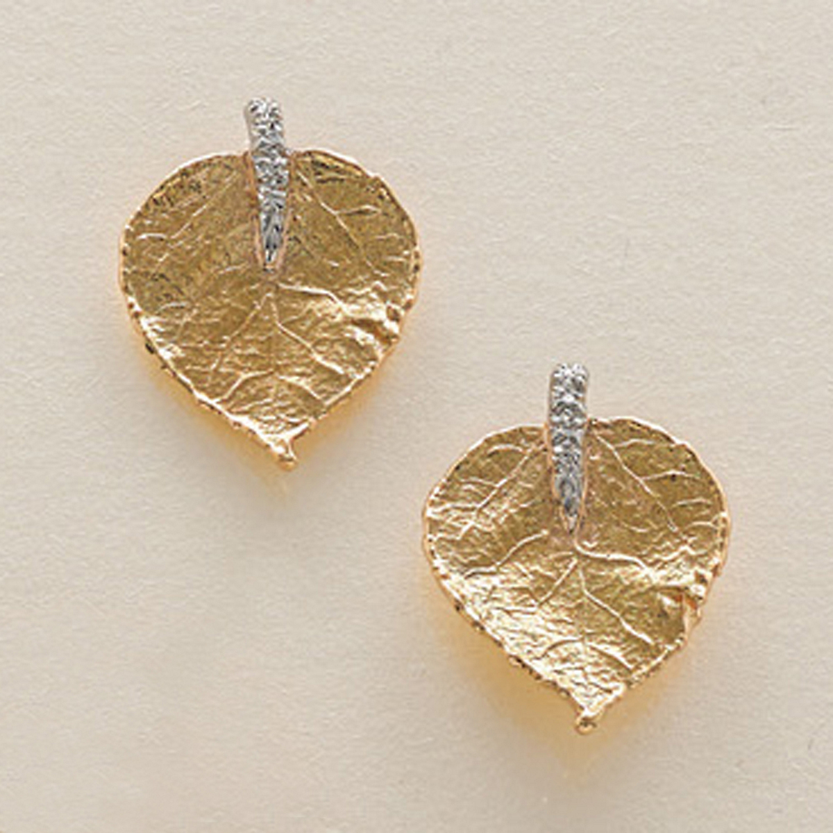 Aaron Henry Aspen Leaf Gold & Platinum Diamond Earrings
