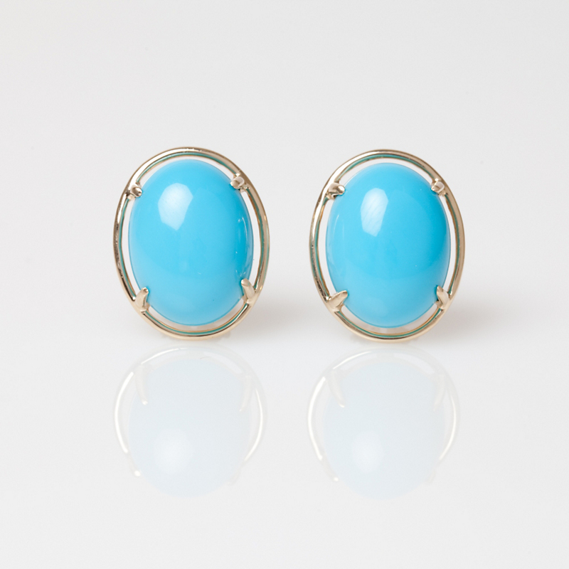 Gump's Turquoise Cabochon & Gold Earrings