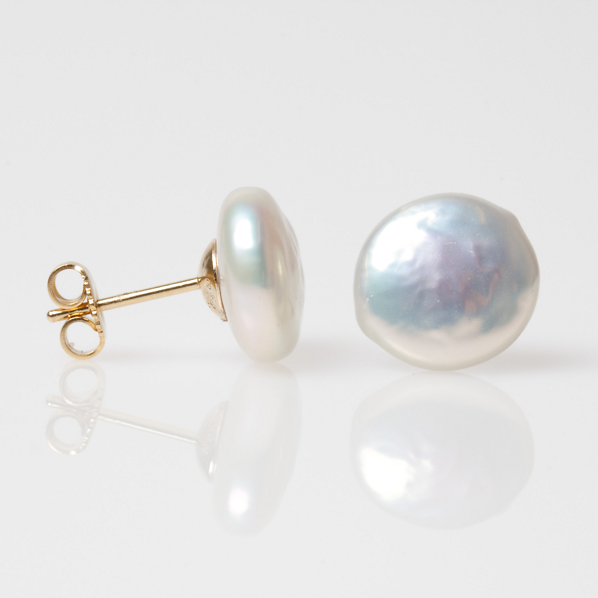 Coin Pearl Button Earrings