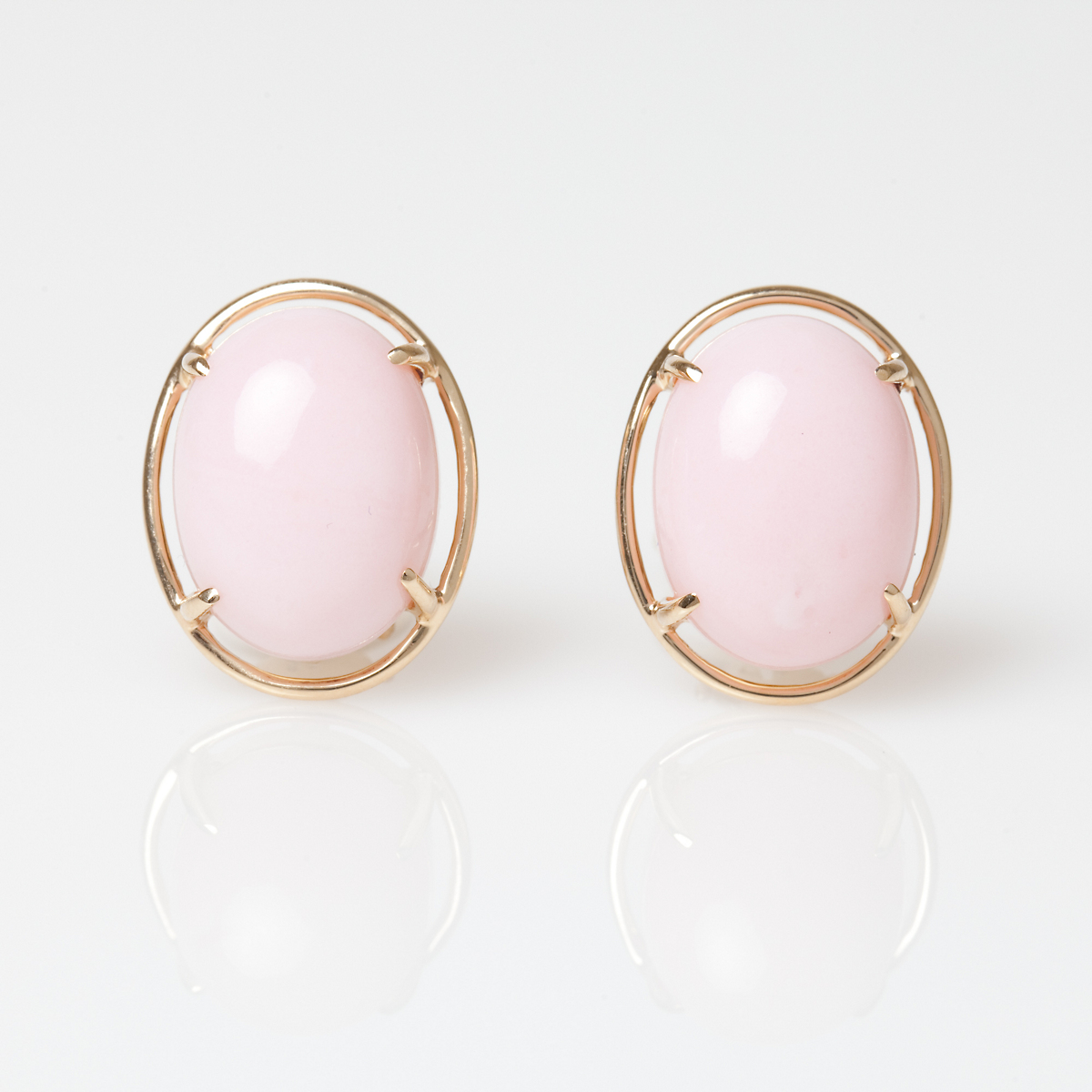 Gump's Pink Peruvian Opal Cabochon Earrings