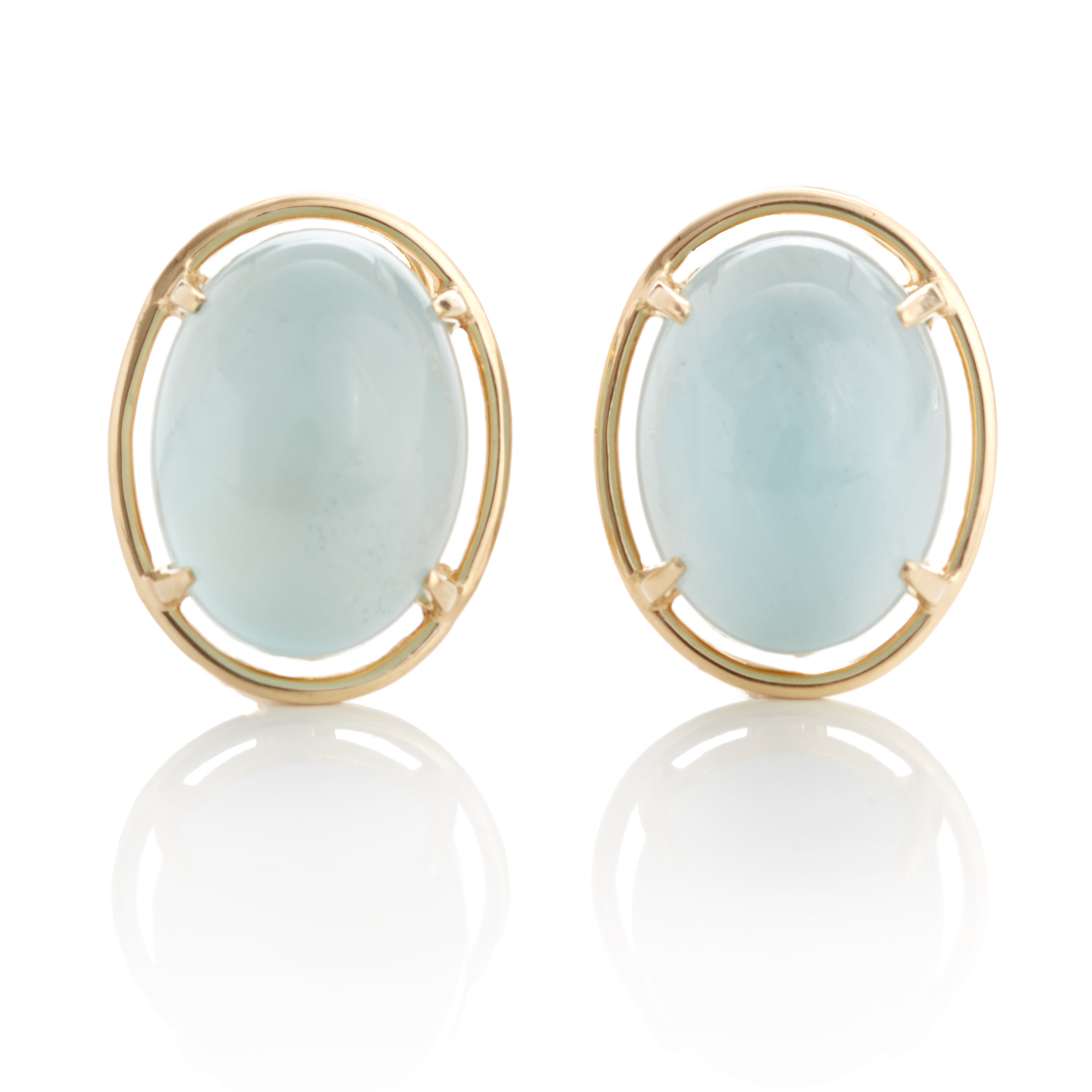Gump's Aquamarine Cabochon Earrings