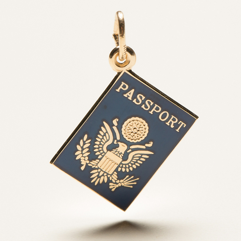 Passport Charm, Gold