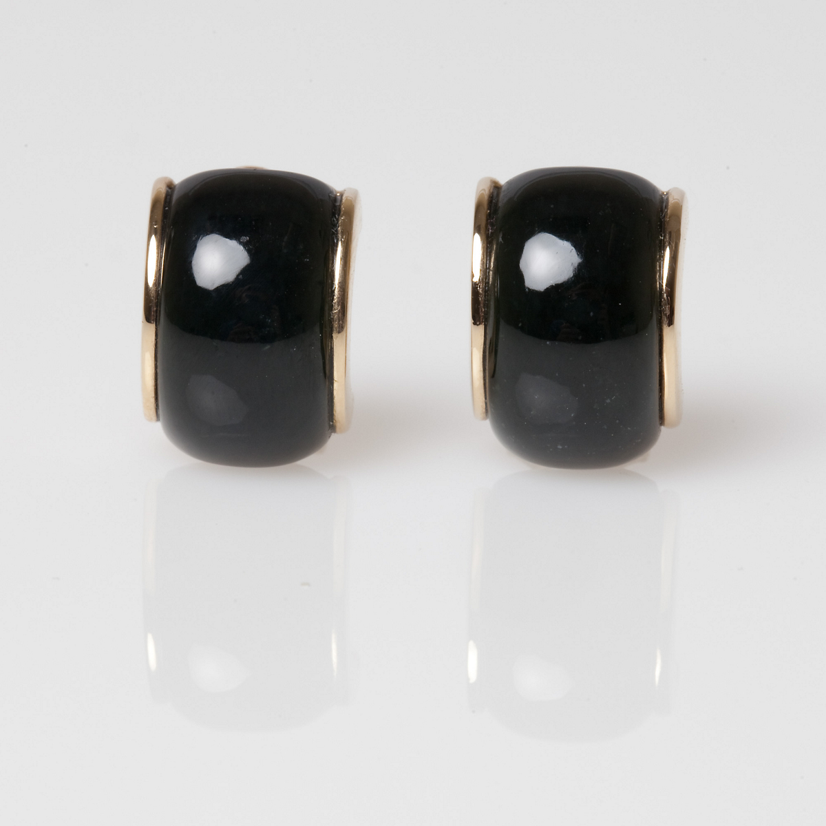 Gump's Black Jade Half Hoop Earrings