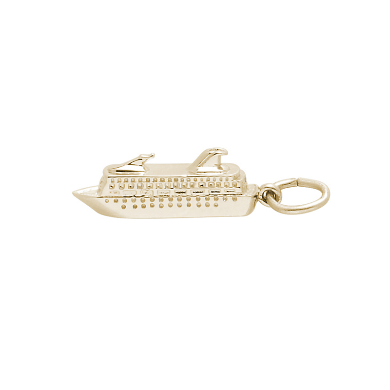 Cruise Ship Charm, Gold