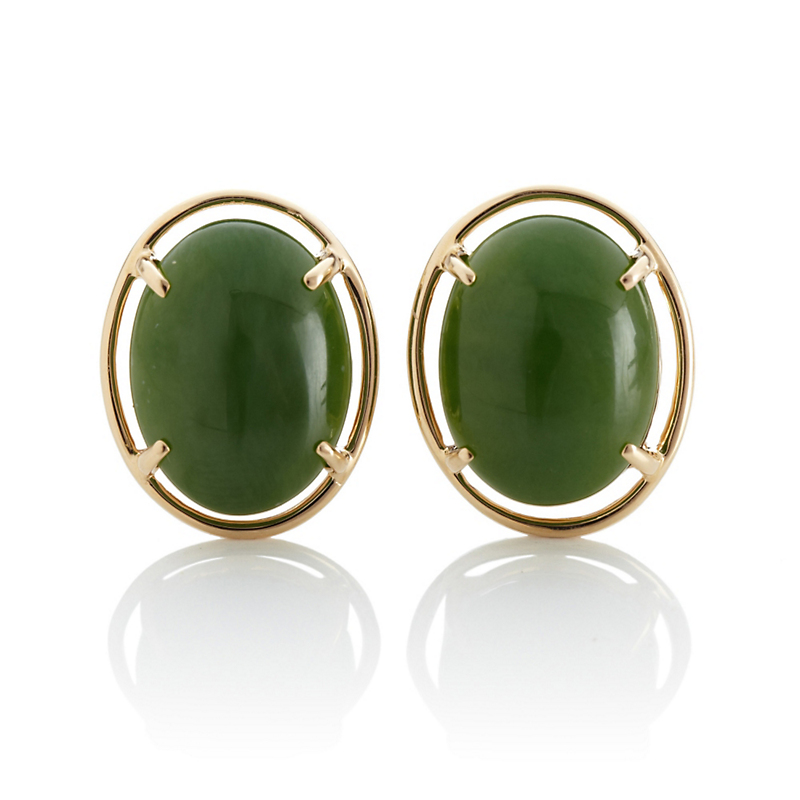 Gump's Leaf Green Jade Cabochon Earrings