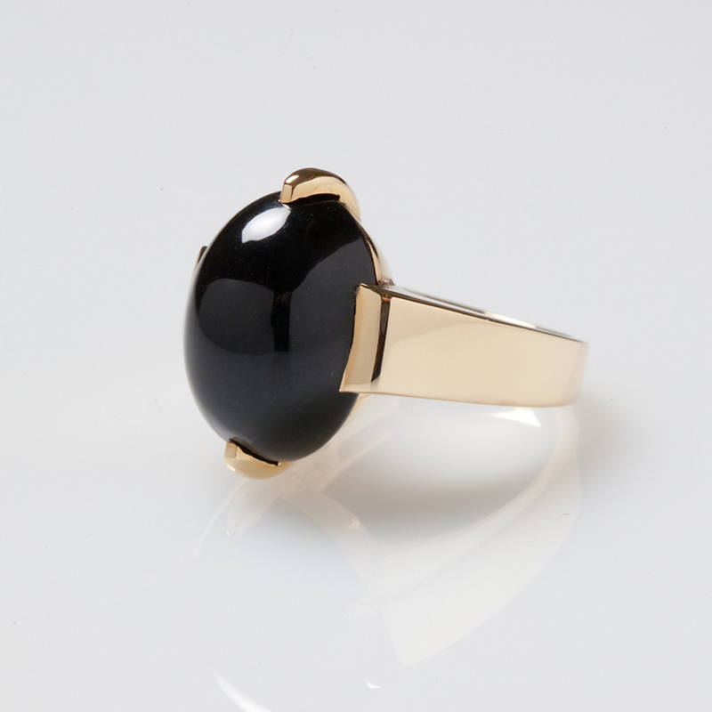 Gump's Black Jade Two-Prong Ring