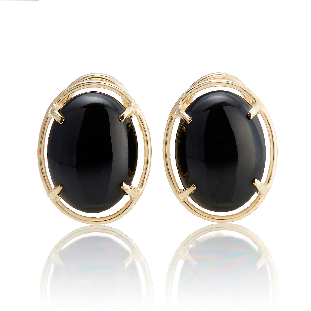 Gump's Black Jade Cabochon Earrings