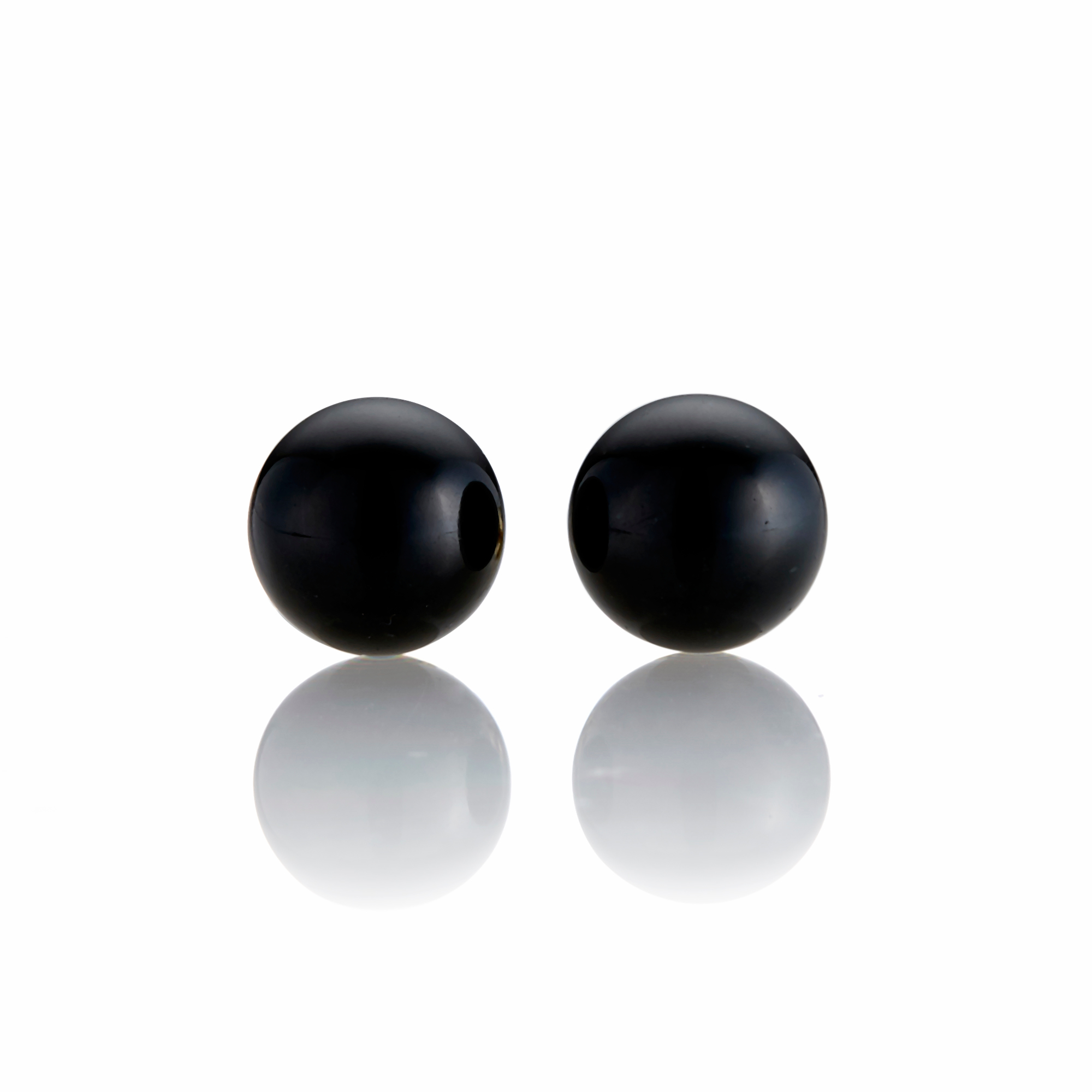 Gump's Black Jade Bead Earrings
