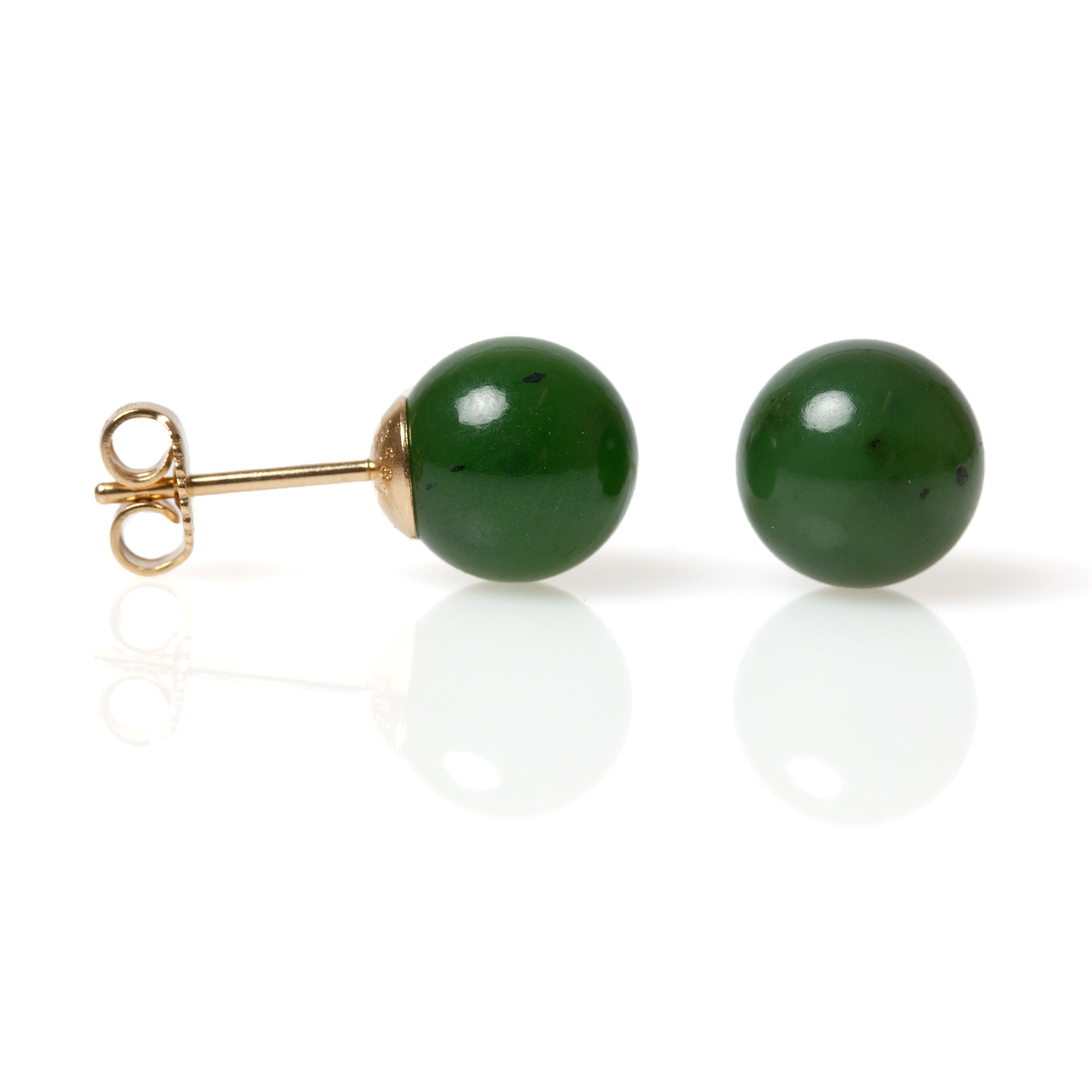 Gump's Green Nephrite Jade Bead Earrings