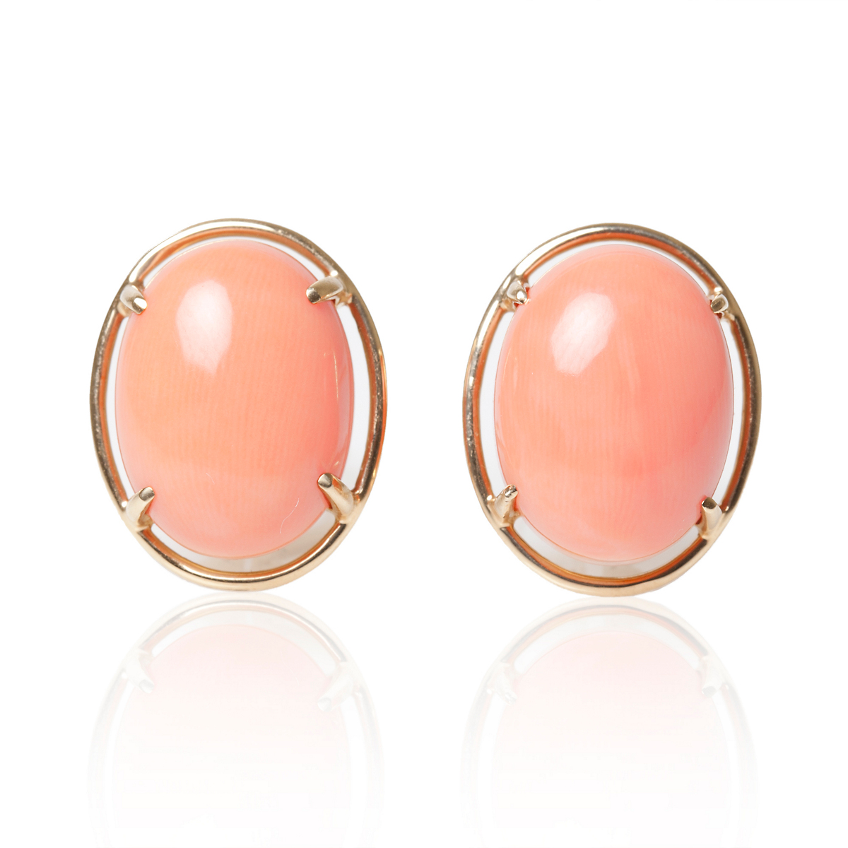 Gump's Pink Coral Cabochon Earrings
