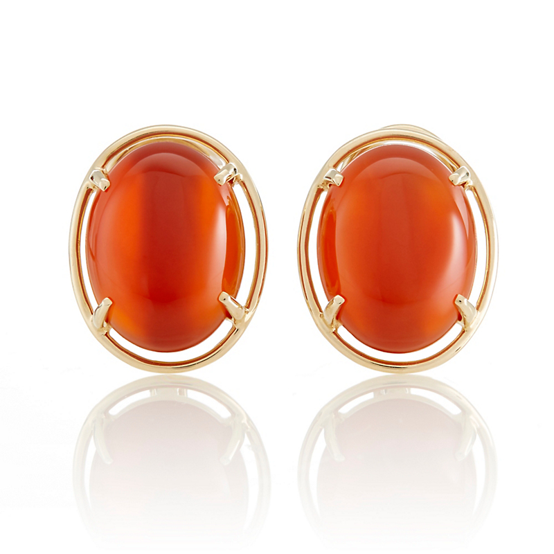 Gump's Carnelian Cabochon Earrings