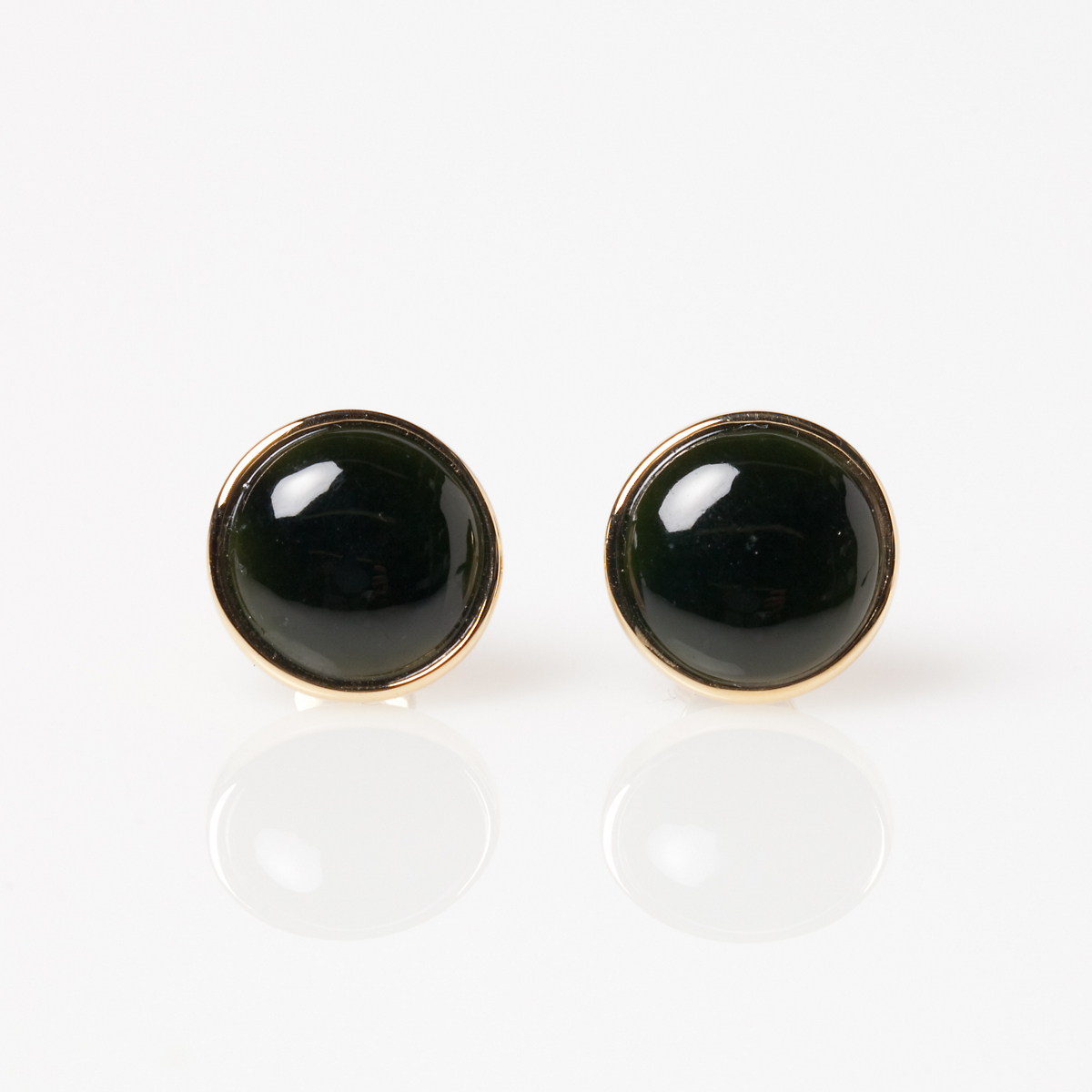 Gump's Round Black Jade Cabochon Earrings