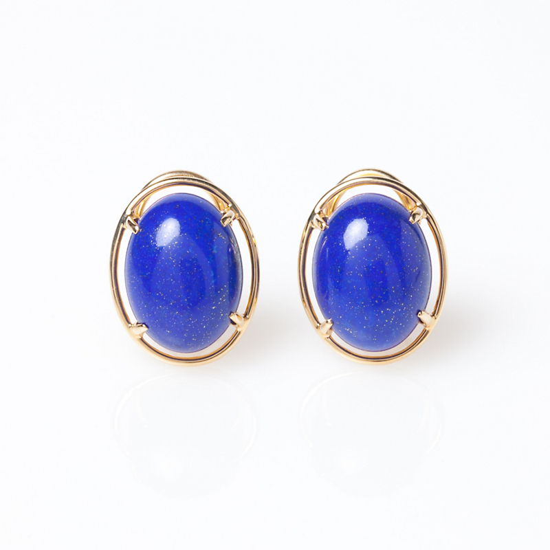 Gump's Lapis Cabochon Earrings