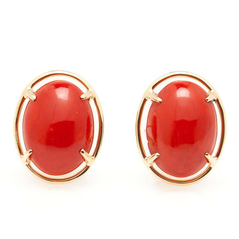 Gump's Red Coral Cabochon Earrings