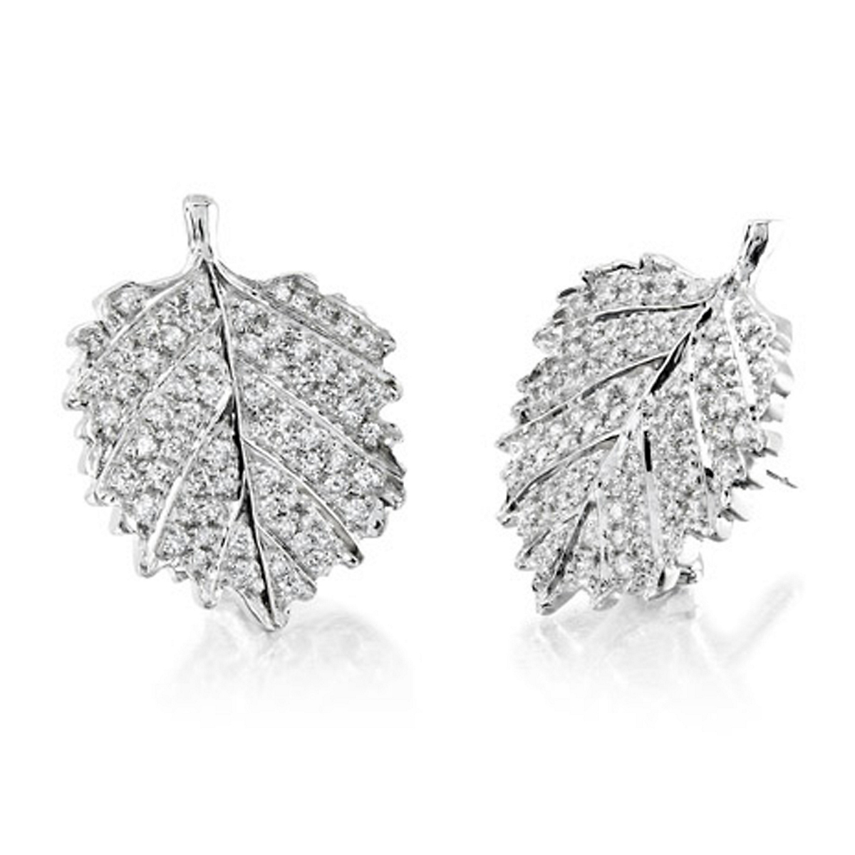 Aaron Henry Poplar Pavé Diamond Leaf Earrings