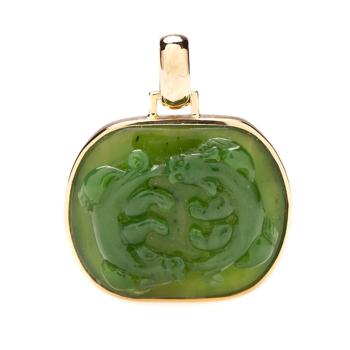 Gump's Leaf Green Jade Double Dragon Pendant