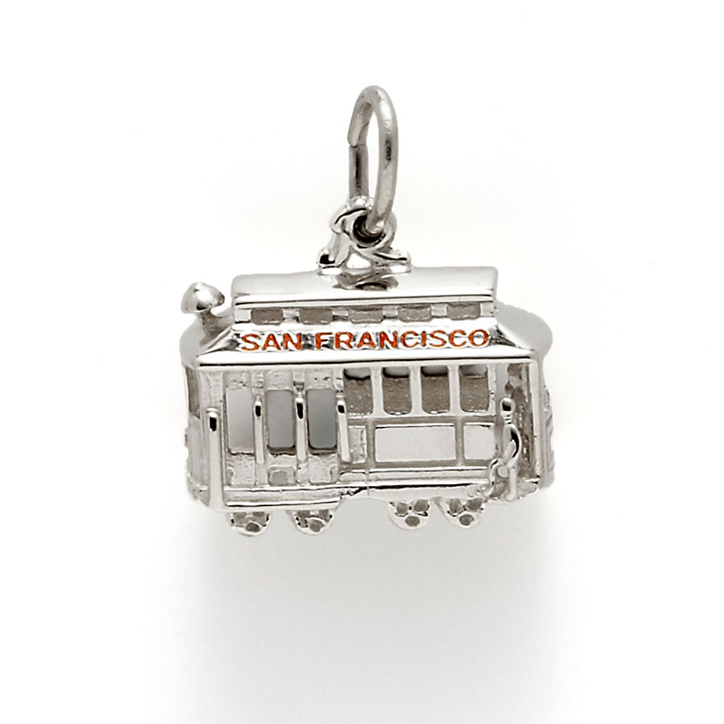 Cable Car Charm, Sterling Silver