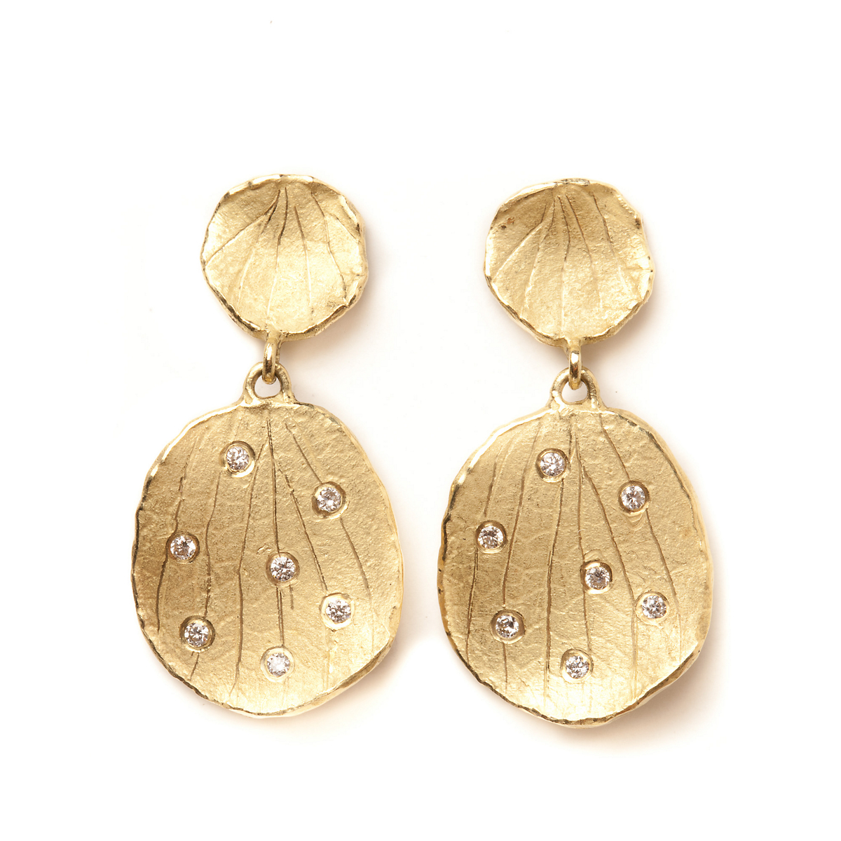 Barbara Heinrich Petal Drop Earrings With Diamonds