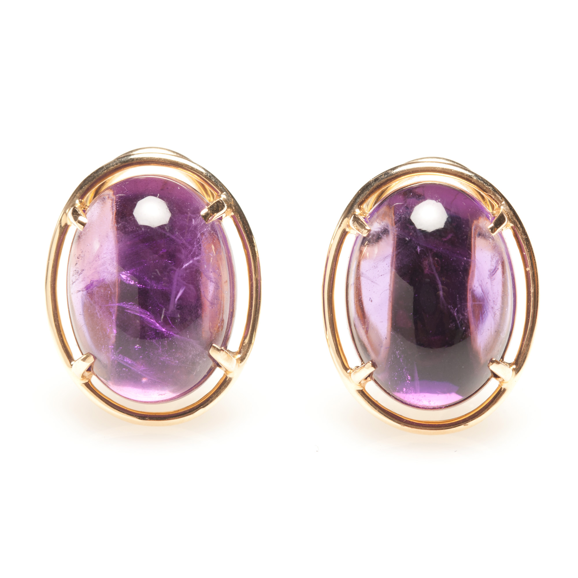 Gump's Amethyst Cabochon Earrings