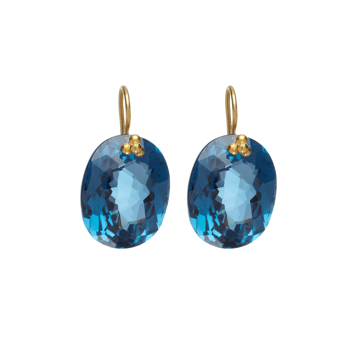 Nikki Baker London Blue Topaz Oval Drop Earrings