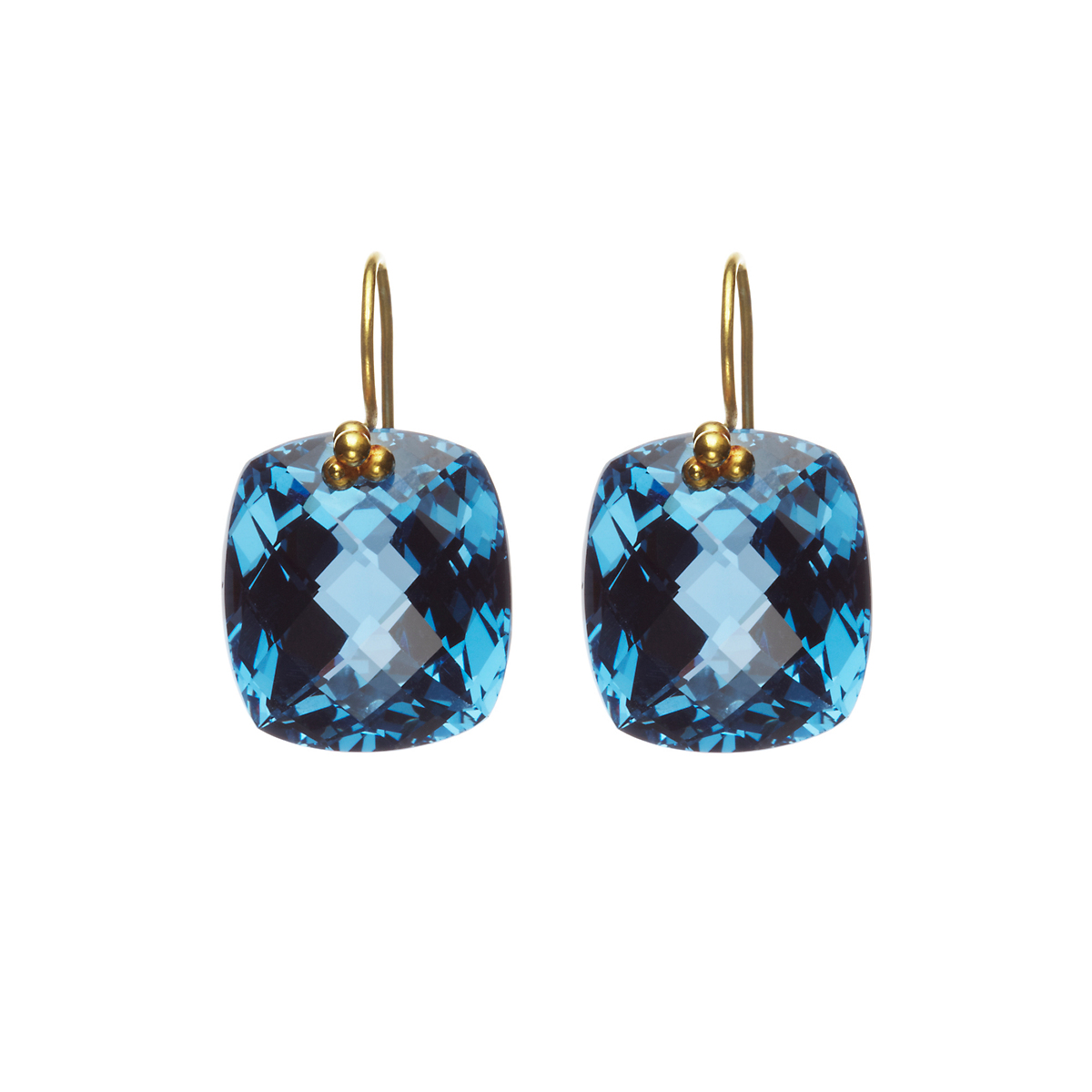 Nikki Baker London Blue Topaz Cushion Drop Earrings