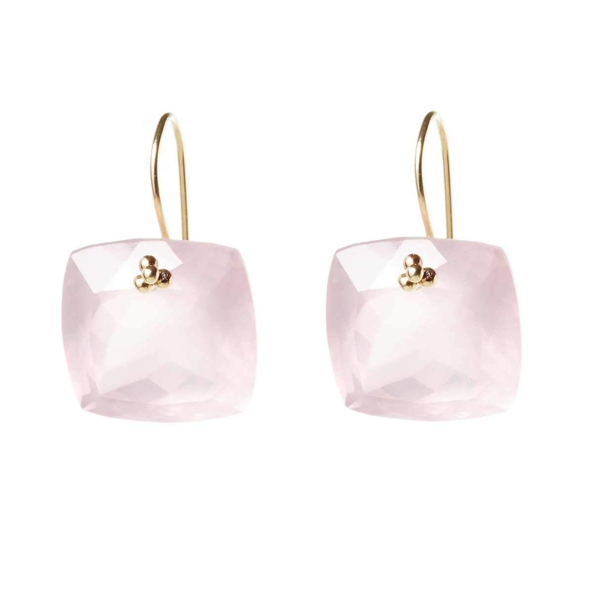Nikki Baker Rose Quartz Cushion Drop Earrings