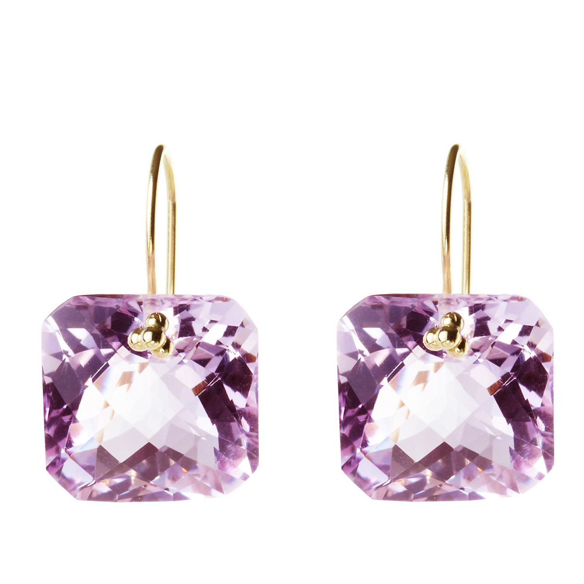 Nikki Baker Pink Amethyst Drop Earrings