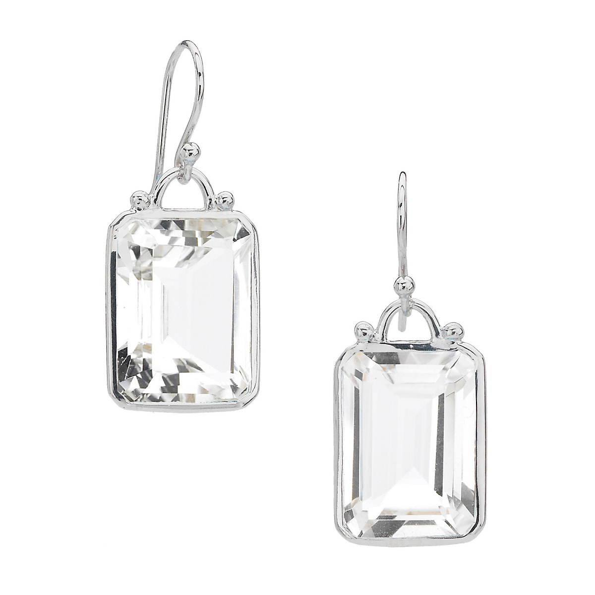 Elizabeth Showers Emerald Cut Rock Crystal Drop Earrings