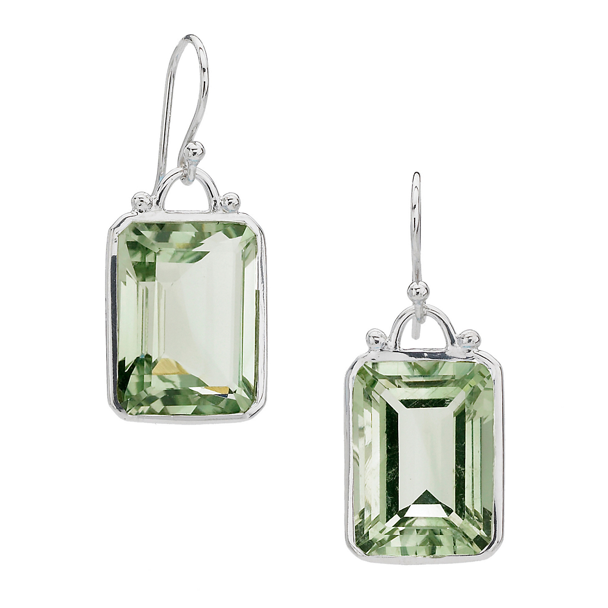 Elizabeth Showers Emerald Cut Green Amethyst Drop Earrings