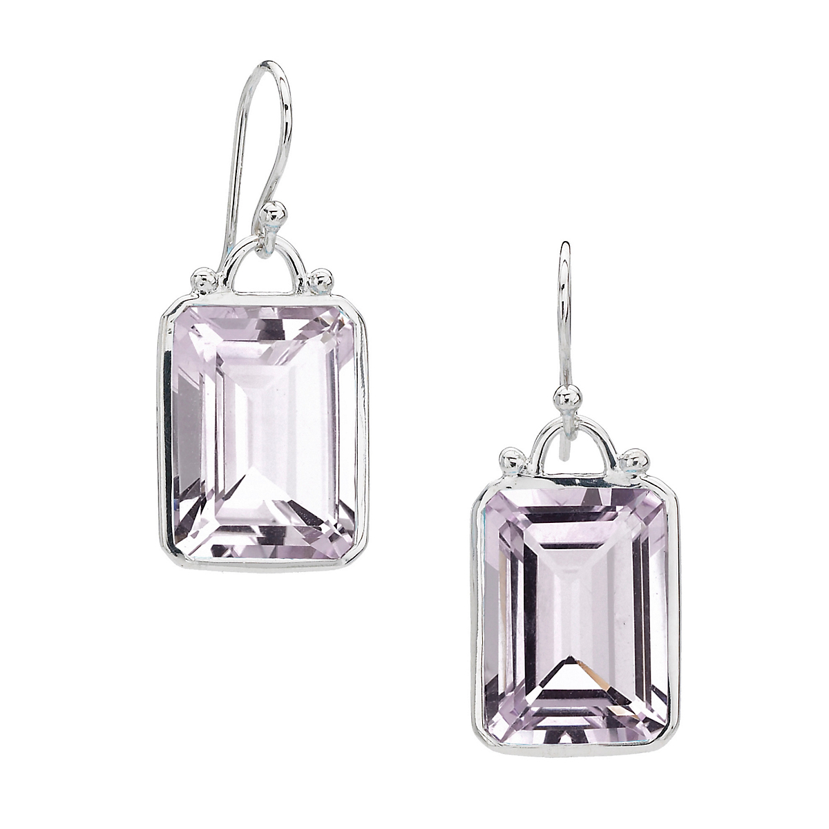 Elizabeth Showers Emerald Cut Rose Amethyst Drop Earrings