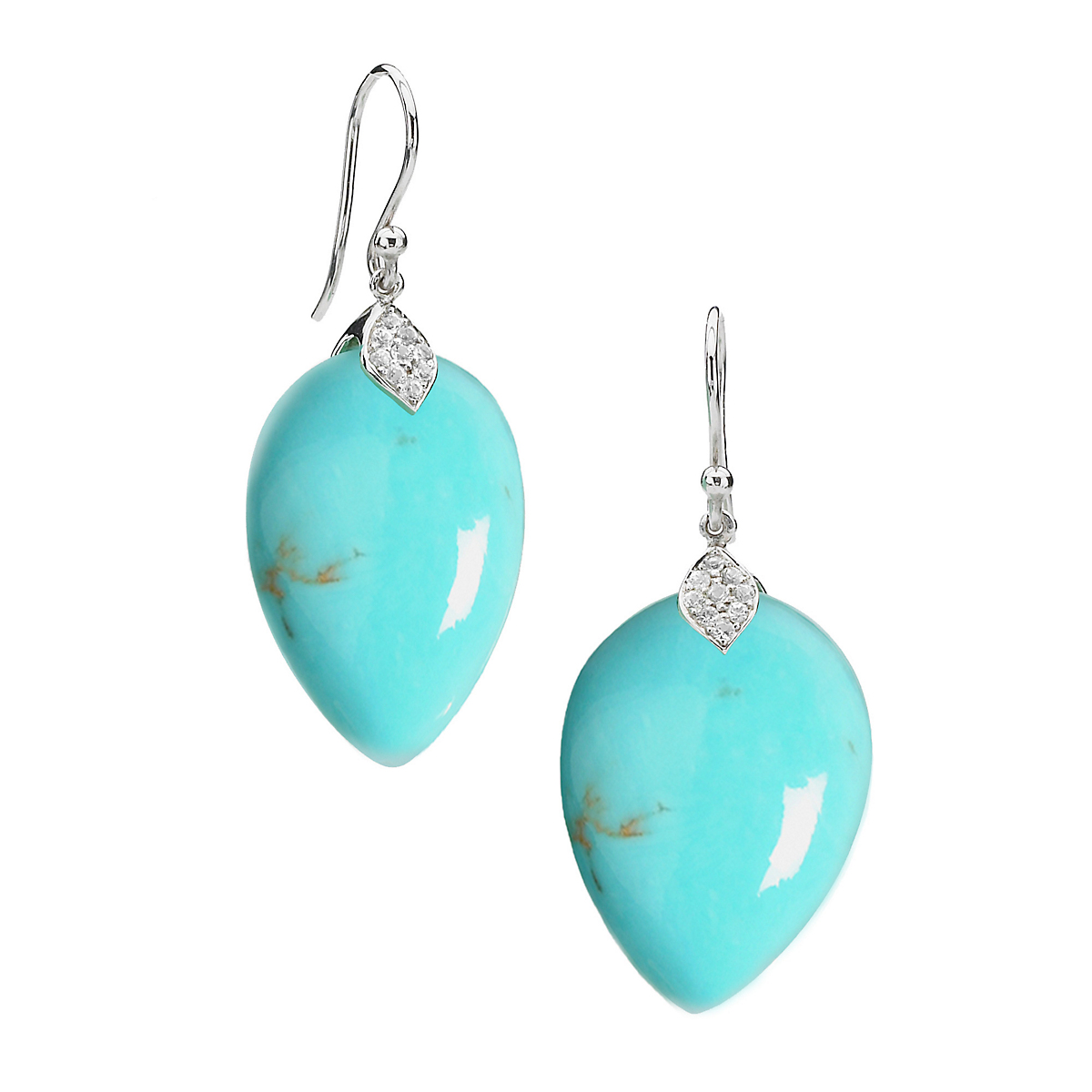 Elizabeth Showers Turquoise and White Sapphire Teardrop Earrings