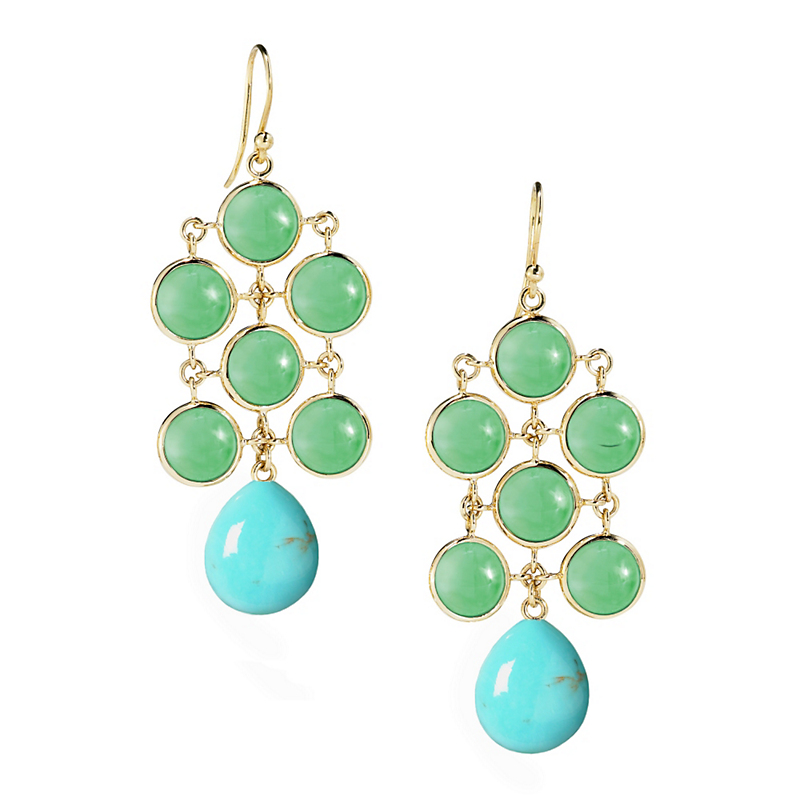 Elizabeth Showers Turquoise & Gold Chandelier Earrings