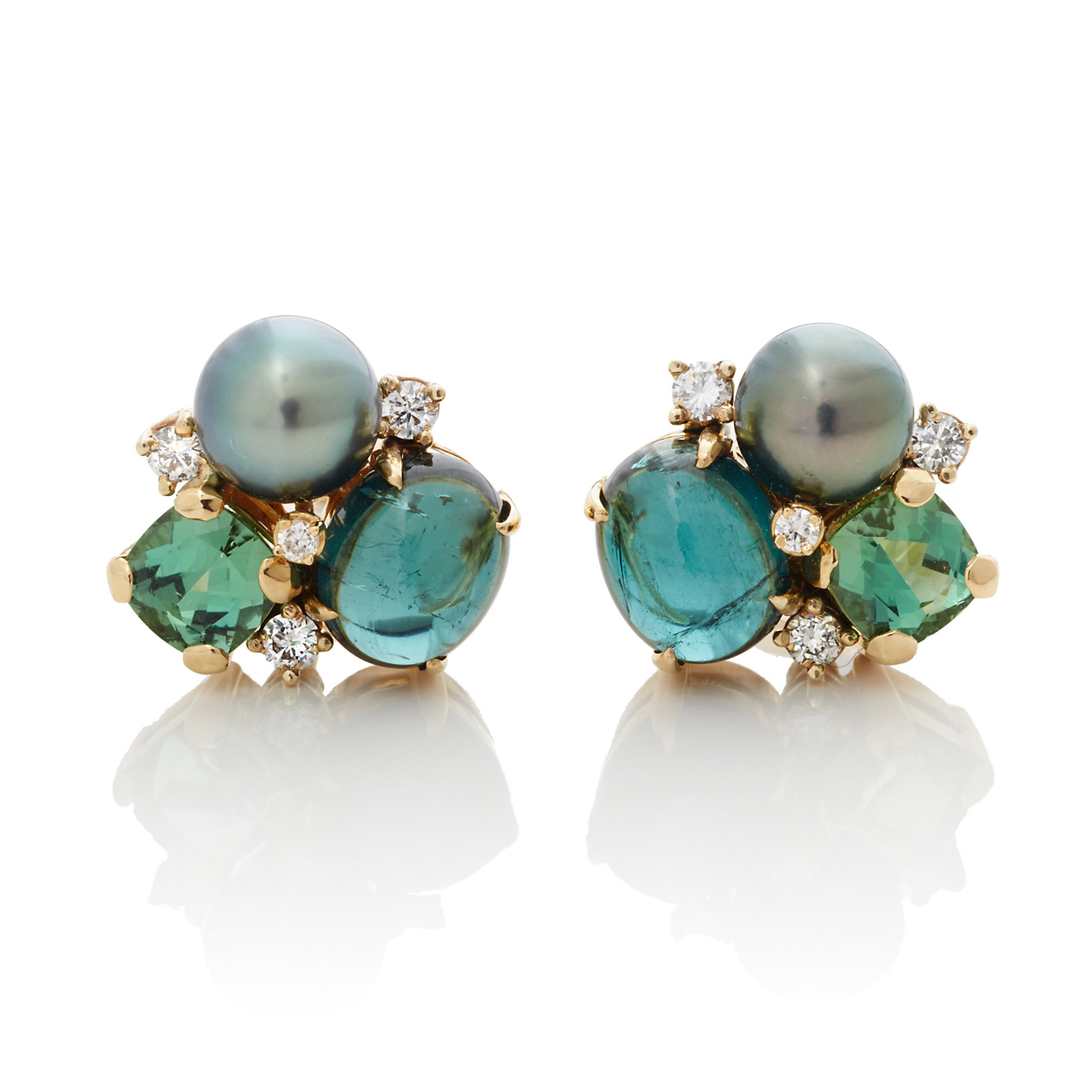 Gump's Tahitian Pearl & Tourmaline Earrings