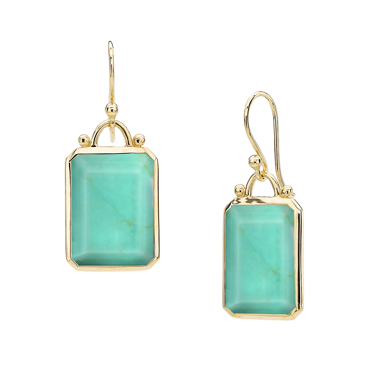 Elizabeth Showers Turquoise Deco Drop Earrings