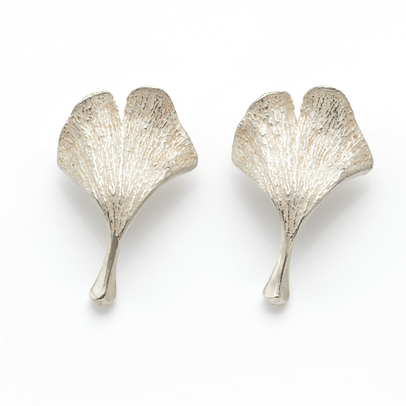 John Iversen Silver Baby Gingko Earrings