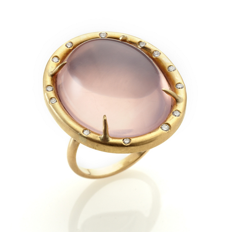 Russell Trusso Rose Quartz Diamond Ring
