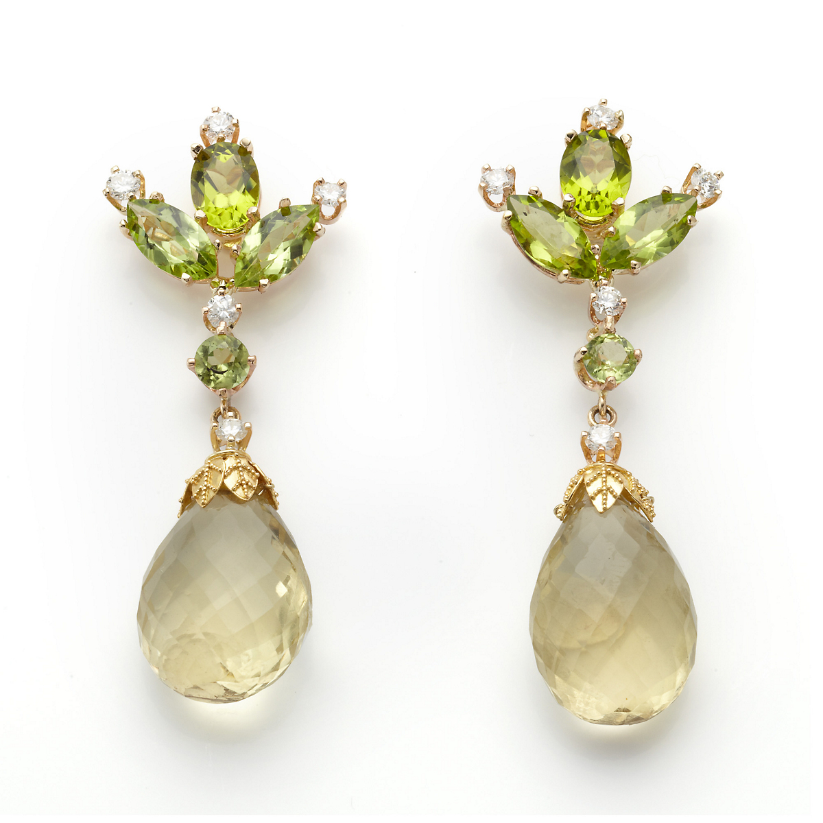 Russell Trusso Lemon Quartz Peridot Earrings