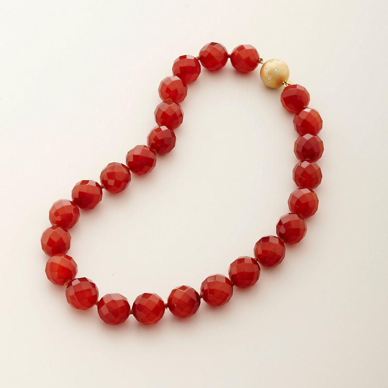Gump's Faceted Carnelian with Diamond Clasp Necklace