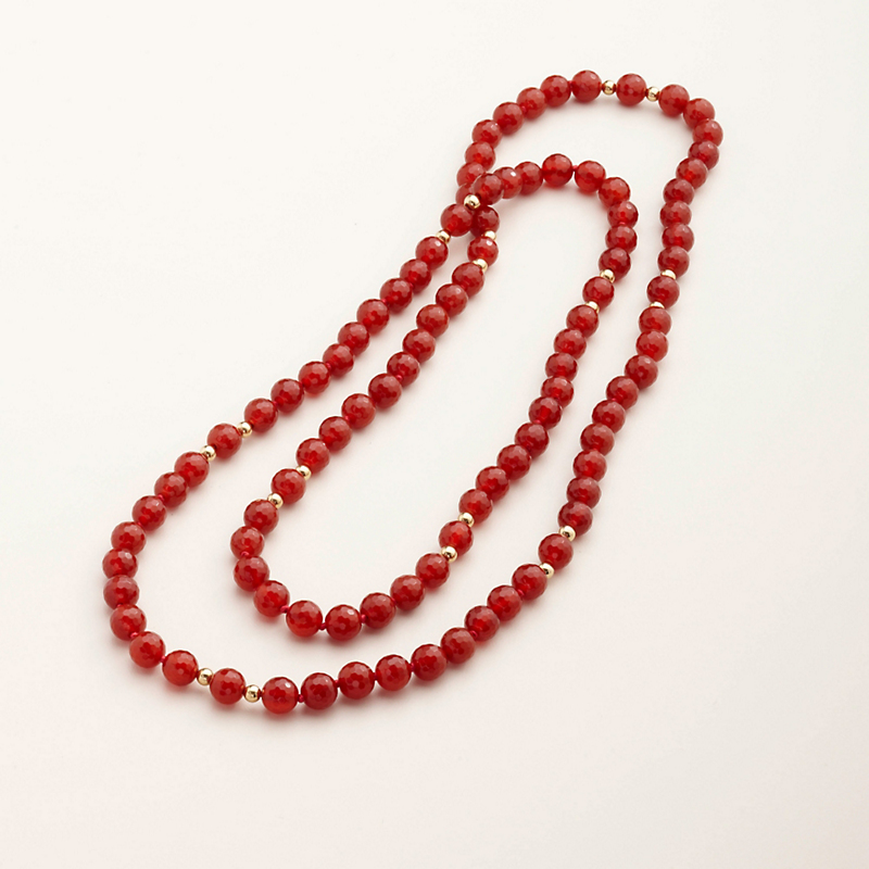 Gump's Faceted Carnelian and Gold Necklace