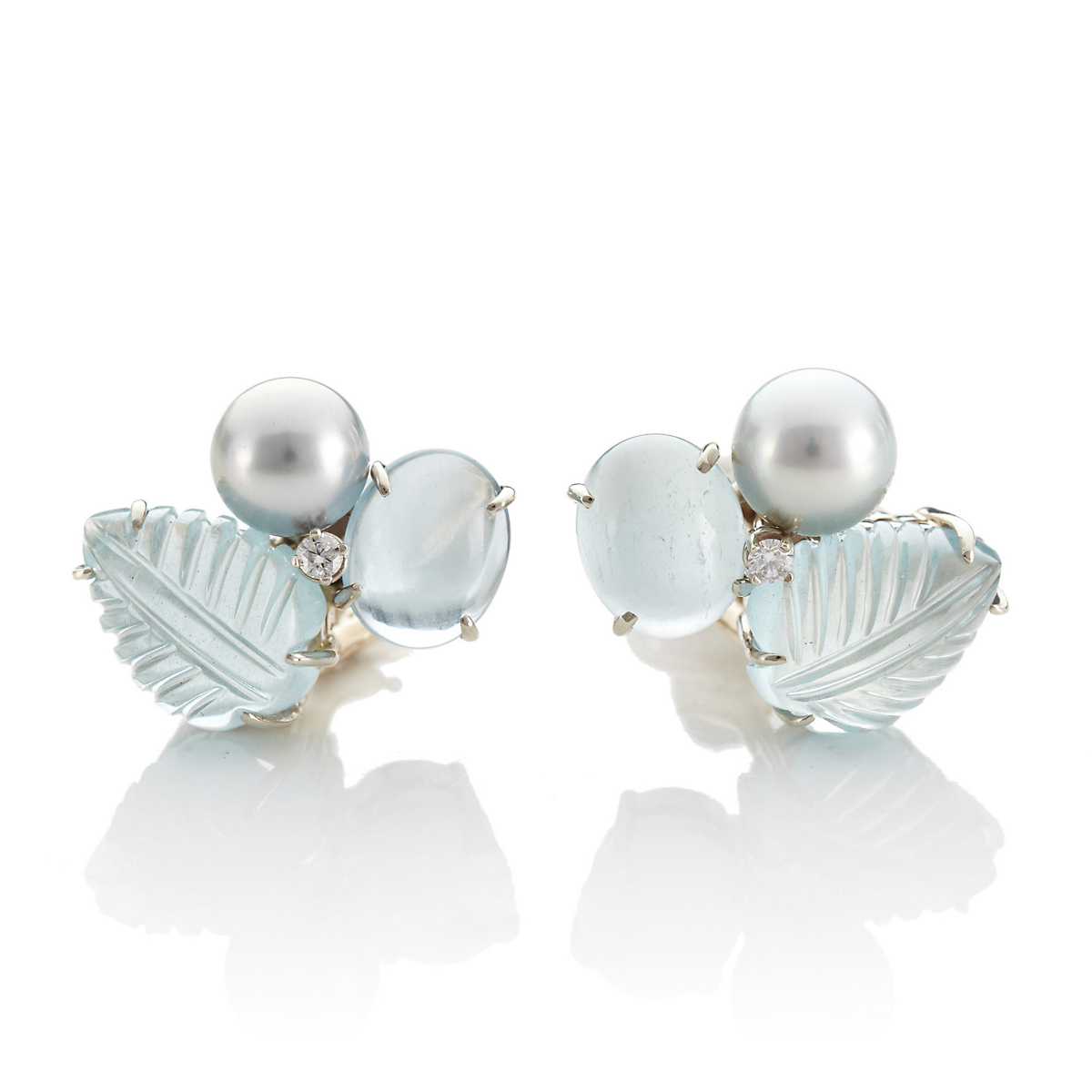 Gump's Carved Aquamarine with Silver Tahitian Cultured Pearl Earrings