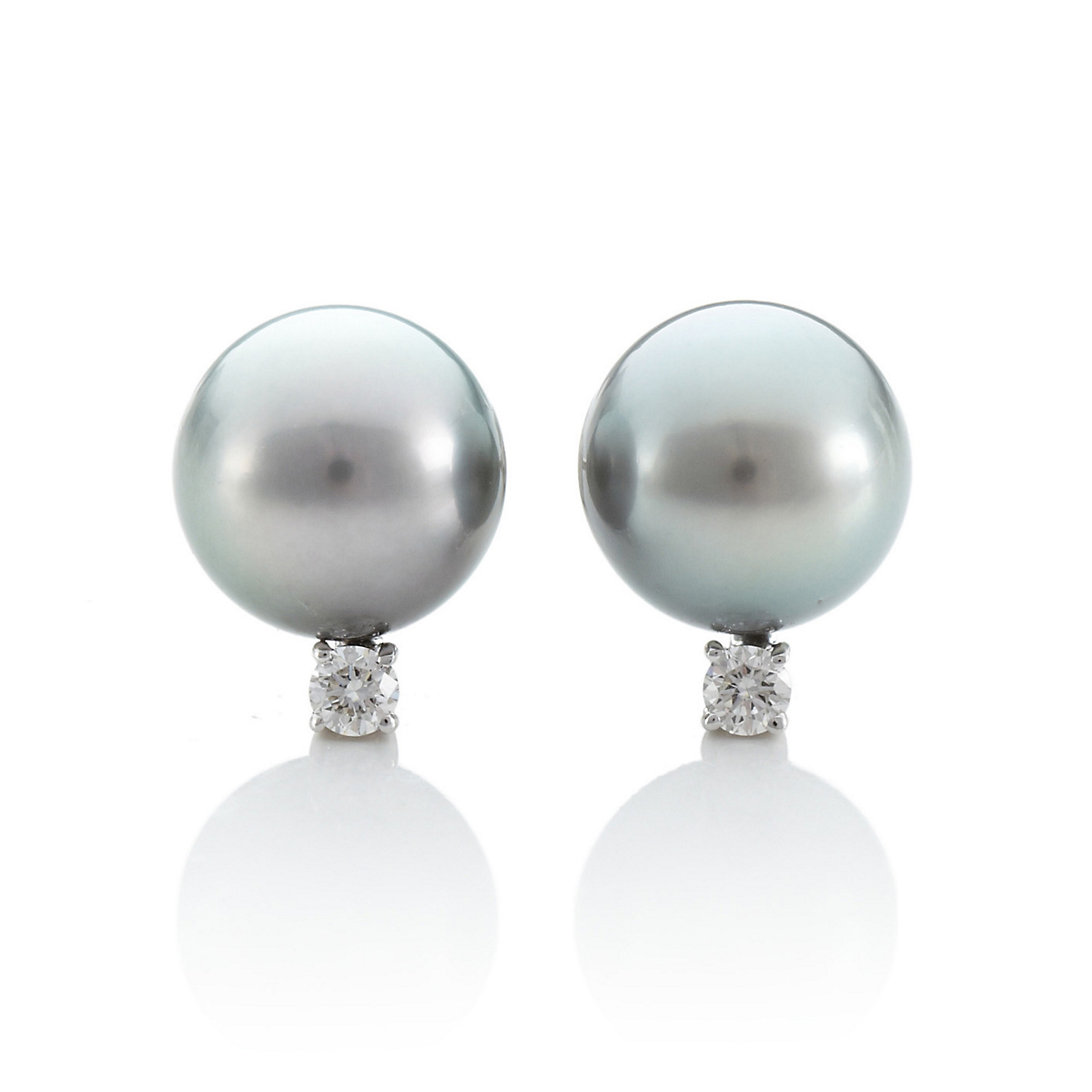 Gump's Tahitian Cultured Pearl and Diamond Earrings