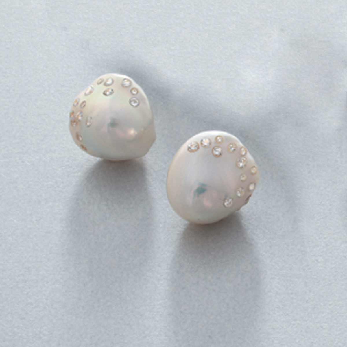 Russell Trusso Freshwater Cultured Pearl and Diamond Earrings