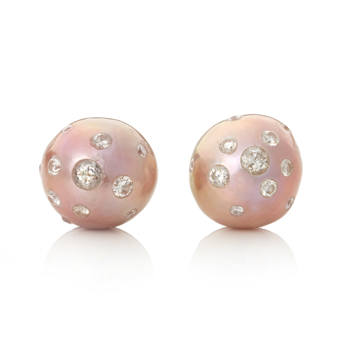 Gump's Freshwater Cultured Pearl with Diamond Earrings