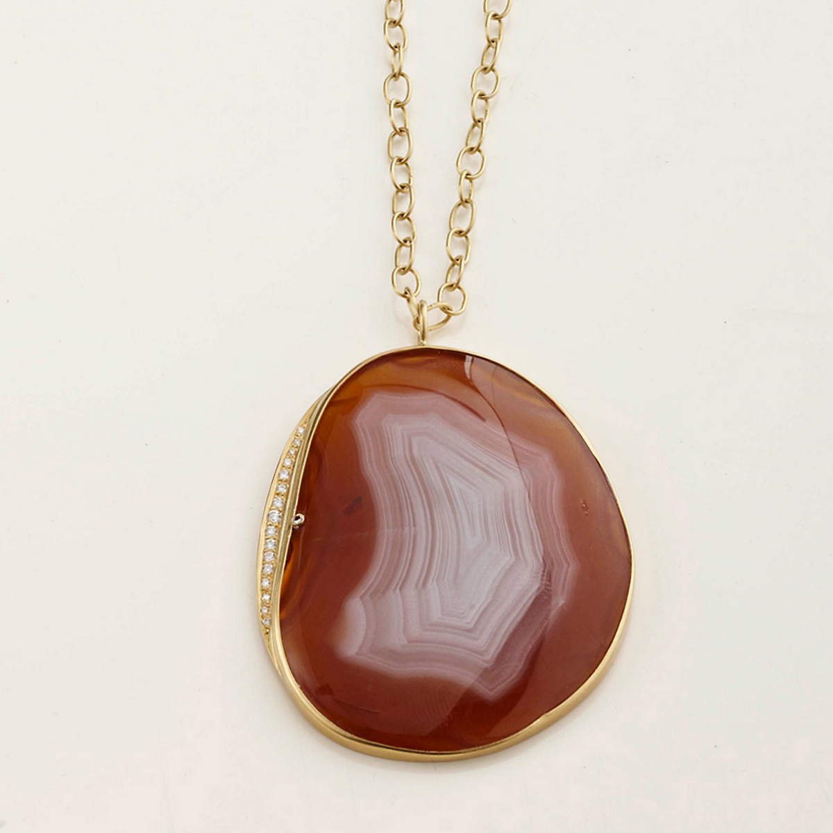 Kothari Red-and-White Agate Necklace