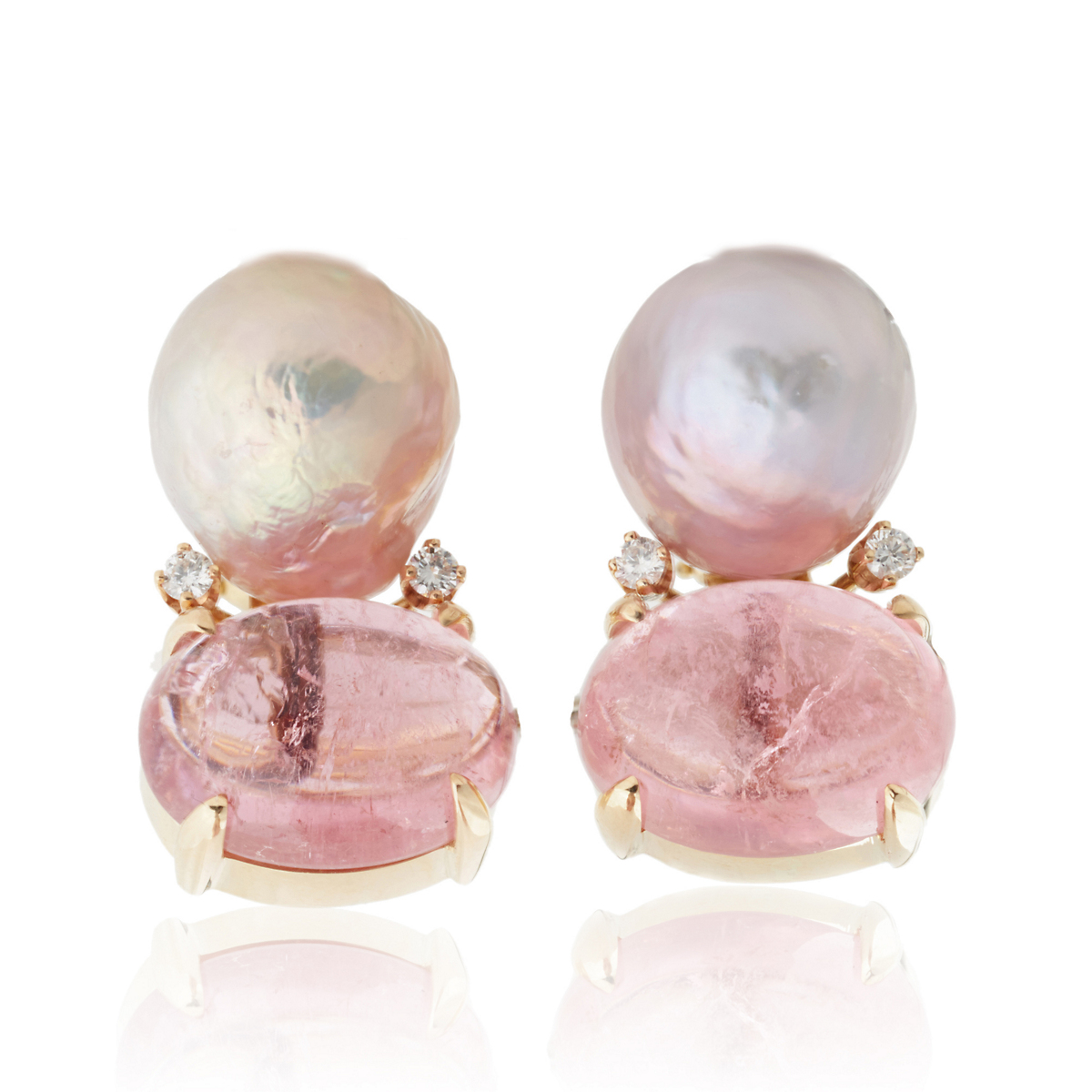 Gump's Freshwater Cultured Pearl & Pink Tourmaline Earrings