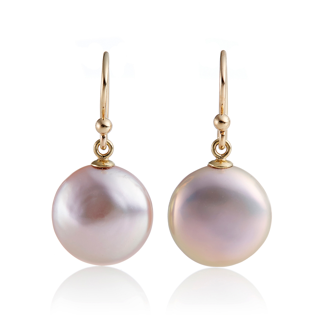 Pink Pearl Coin Drop Earrings